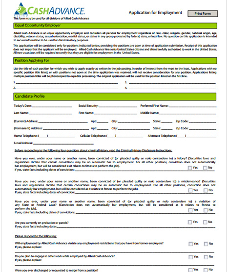 allied cash advance application pdf