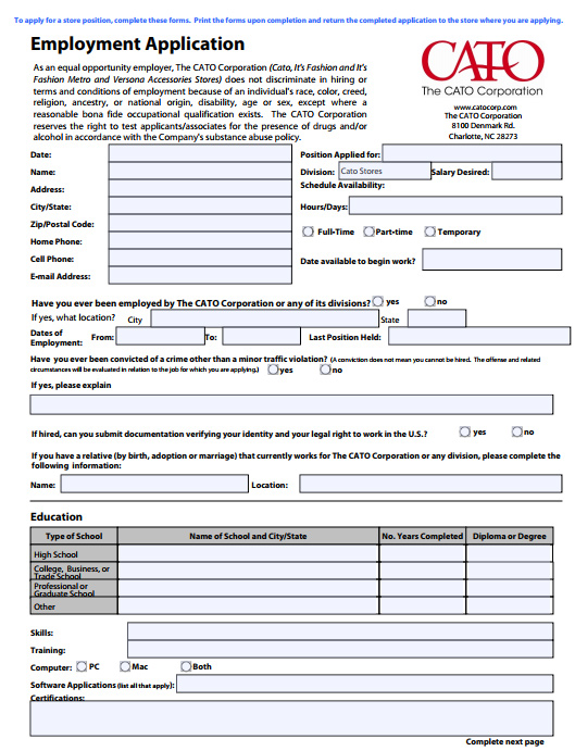 Cato Job Application PDF