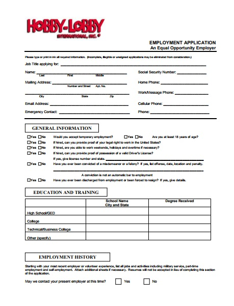 Hobby Lobby Application PDF Download & Print Out 2017 ...