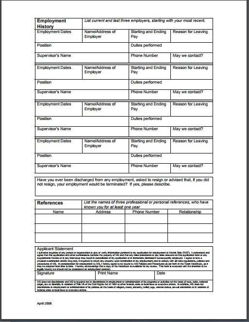 personal references job application