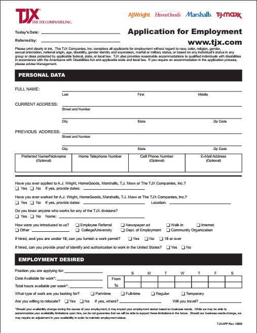 Marshalls Application Pdf Download Print Out 2018