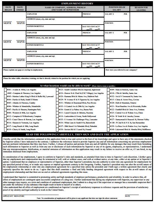 Superior Grocers Job Application PDF - Back