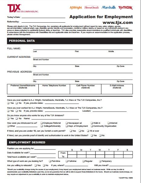 T J Maxx Application Pdf Download Print Out 2018 Jobapplicationform365 Com