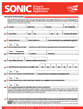 SONIC Drive In Job Application PDF