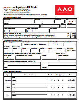 Against All Odds Job Application PDF