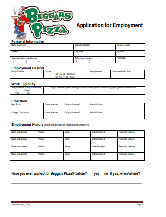 Beggars Pizza Job Application PDF
