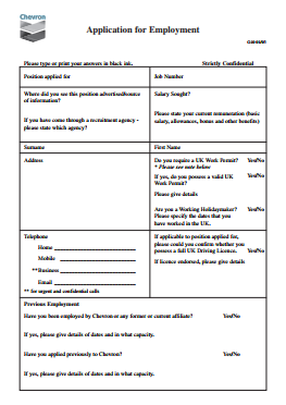 Chevron Job Application PDF