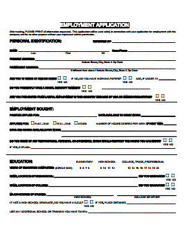 Giant Food Stores Job Application PDF