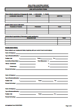 Malaysia Airlines Job Application PDF - Page 2