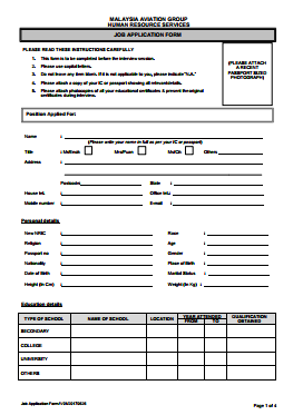 Malaysia Airlines Job Application PDF