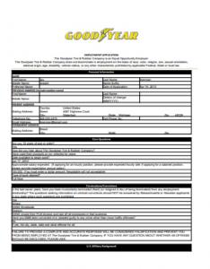 Goodyear Job Application PDF