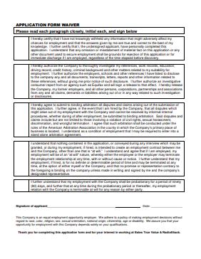 True Value Job Application PDF - Page 5