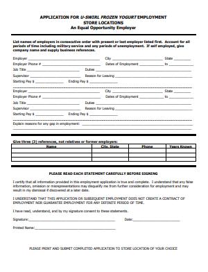 U-Swirl Job Application PDF - Page 2